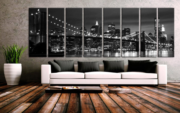 "XXLARGE 30""x 96"" 8 Panels Art Canvas Print beautiful New York Brooklyn bridge skyline Black & White Wall Home (Included framed 1.5"" depth) - BoxColors"