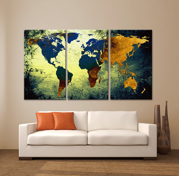 "LARGE 30""x 60"" 3 Panels Art Canvas Print World Map Texture Abstract Blue yellow orange Wall Decor home office interior  ( framed 1.5"" depth) - BoxColors"