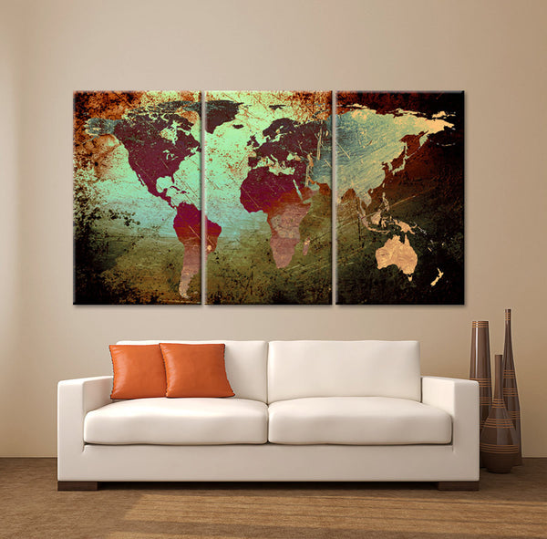 "LARGE 30""x 60"" 3 Panels 30""x20"" Ea Art Canvas Print World Map Texture Abstract Wall Decor interior design Home Office (Included framed 1.5"" depth) - BoxColors"