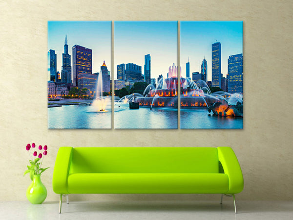 "LARGE 30""x 60"" 3 Panels Art Canvas Print Buckingham Fountain in Grant Park Chicago Wall Home decor interior (framed 1.5"" depth) - BoxColors"