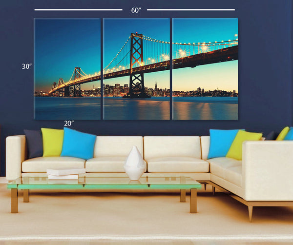 "LARGE 30""x 60"" 3 Panels Art Canvas Print Beautiful Bay Bridge San Francisco California Wall Home decor interior (Included framed 1.5"" depth) - BoxColors"
