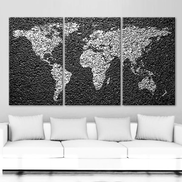 "LARGE 30""x 60"" 3 Panels Art Canvas Print World Map Decorative Concrete texture Wall Home Office decor interior (Included framed 1.5"" depth) - BoxColors"