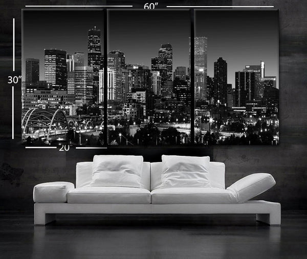 "LARGE 30""x 60"" 3 Panels Art Canvas Print Beautiful Denver Colorado skyline at night light buildings Wall Home (Included framed 1.5"" depth) - BoxColors"