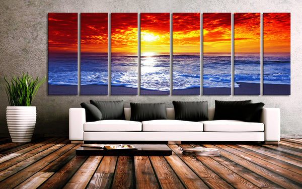 "30""x 96"" 8 Panels Art Canvas Print Colourful Sunset Sea Beach wall decor Home Office Lobby Decor  interiror (Included framed 1.5""depth) - BoxColors"