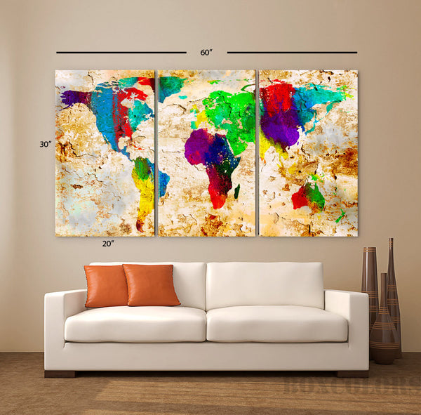"LARGE 30""x 60"" 3 Panels Art Canvas Print World Map Original Texture Watercolor Abstract Old Wall interior design Home (framed 1.5"" depth) - BoxColors"