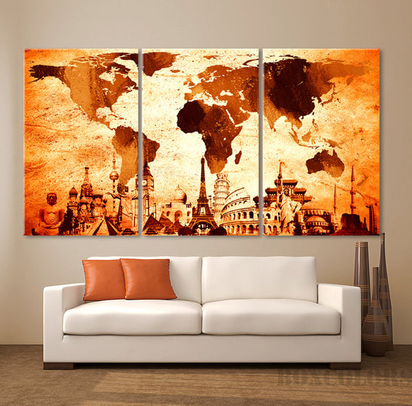"LARGE 30""x60"" 3Panels Art Canvas Print Wonders of the world Map decor Home (1.5"" depth)"