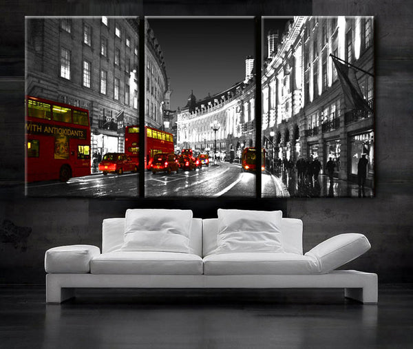"LARGE 30""x 60"" 3 Panels Art Canvas Print Beautiful London England Bus Red night Wall Home decor design interior design ( framed 1.5"" depth) - BoxColors"