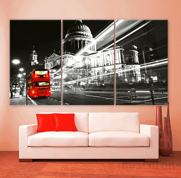 "LARGE 30""x 60"" 3 Panels Art Canvas Print Beautiful London England Bus Red night lights Wall Home decor  interior design ( framed 1.5"" depth) - BoxColors"