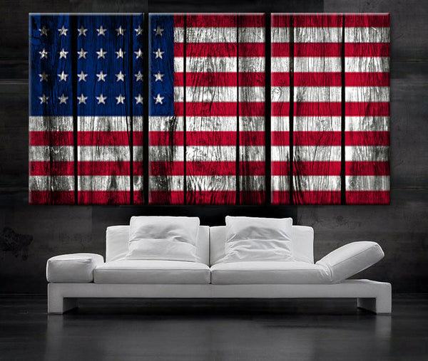 "LARGE 30""x 60"" 3 Panels Art Canvas Print Original American flag Glory Old wood texture Wall decor Home interior (Included framed 1.5"" depth)"