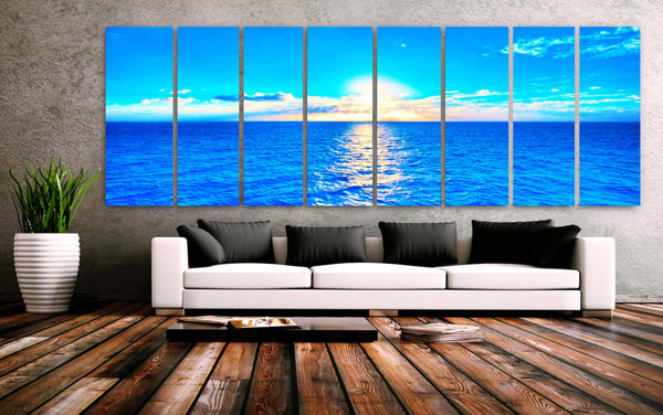 "XXLARGE 30""x 96"" 8 Panels Art Canvas Print Beach Blue Turquoise Sunset Wall Home office lobby Decor interior (Included framed 1.5"" depth) - BoxColors"