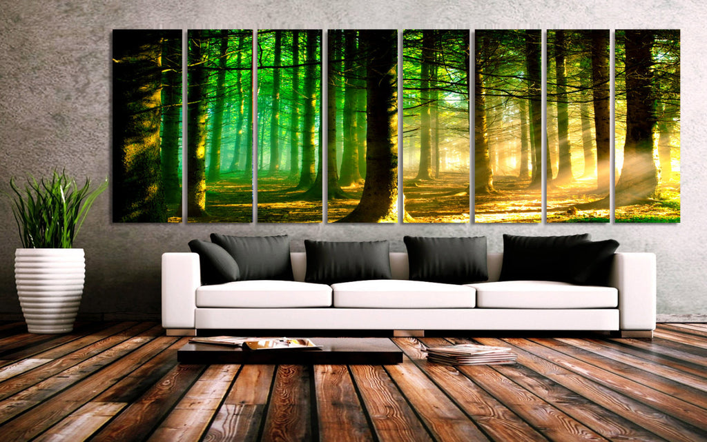 "XXLARGE 30""x 96"" 8 Panels Art Canvas Print beautiful Nature Sunset Forest Trees Sun rays Wall Home Decor interior (framed 1.5""depth) - BoxColors"