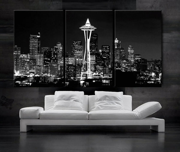 "LARGE 30""x 60"" 3 Panels Art Canvas Print Seattle Washington Skyline night Downtown Black & White Wall Home decor interior(framed 1.5"" depth) - BoxColors"