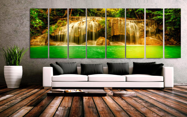 "XXLARGE 30""x 96"" 8 Panels Art Canvas Print beautiful Waterfall Trees Green river Wall Home Decor interior (Included framed 1.5""depth) - BoxColors"