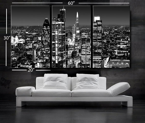 "LARGE 30""x 60"" 3 Panels Art Canvas Print beautiful London Skyline lights night Black & White Wall Home (Included framed 1.5"" depth) - BoxColors"