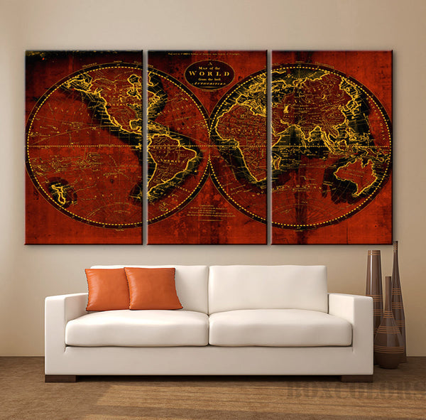 "LARGE 30""x 60"" 3 Panels Art Canvas Print Original world Map Old Vintage Rustic Brown Wall decor Home interior (Included framed 1.5"" depth) - BoxColors"