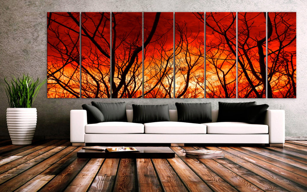 "XXLARGE 30""x 96"" 8 Panels Art Canvas Print beautiful Nature Tree branch Sunset Forest Sun Wall Home Office Decor interior (framed 1.5""depth) - BoxColors"