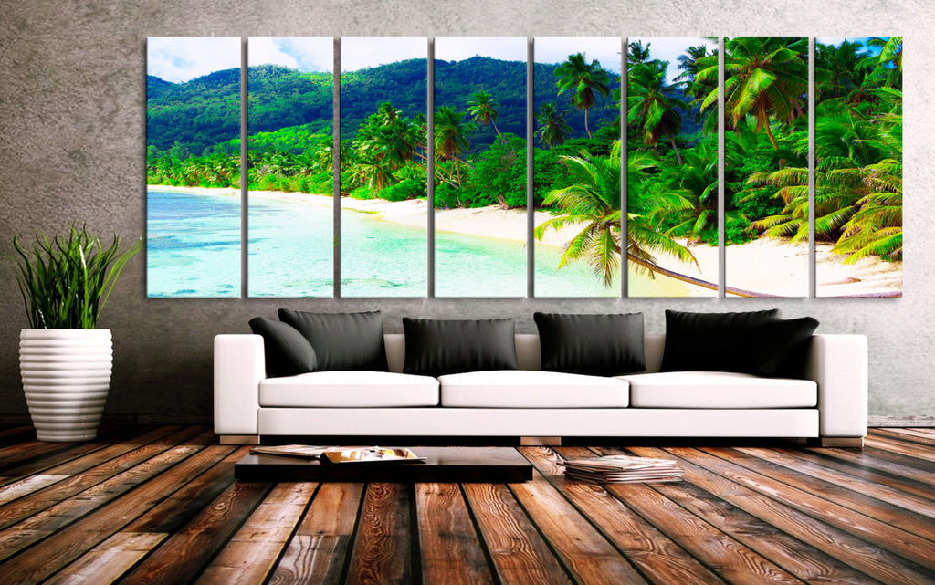 "XXLARGE 30""x 96"" 8 Panels Art Canvas Print Beach Palms Sea Mountains Relax Wall Home Decor interior (Included framed 1.5"" depth) - BoxColors"
