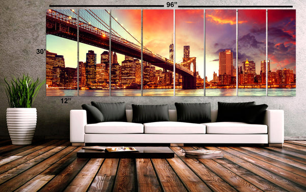 "XXLARGE 30""x 96"" 8 Panels Art Canvas Print beautiful brooklyn Bridge New York city skyline night Wall Home decor (framed 1.5"" depth) - BoxColors"