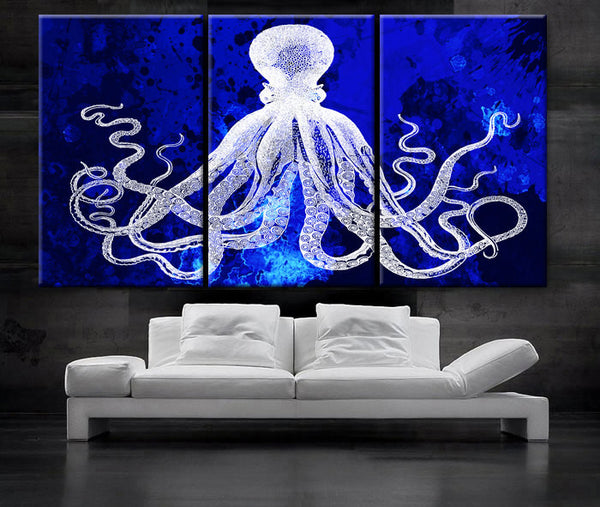 "LARGE 30""x 60"" 3 Panels Art Canvas Print Octopus watercolor blue background Wall home Office decor interior (Included framed 1.5"" depth) - BoxColors"