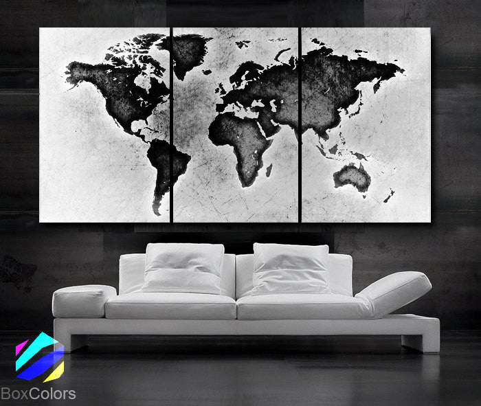 Large 30x 60 3 panels art canvas print world map black white large 30x 60 3 panels art canvas print world map black white gumiabroncs Image collections