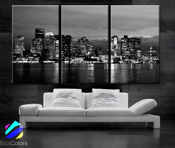 "LARGE 30""x 60"" 3 Panels Art Canvas Print beautiful Boston skyline Black & White Wall Home (Included framed 1.5"" depth) - BoxColors"