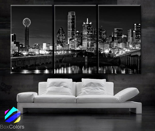 "LARGE 30""x 60"" 3 Panels Art Canvas Print beautiful Dallas tx Skyline Black & White Wall Home (Included framed 1.5"" depth) - BoxColors"