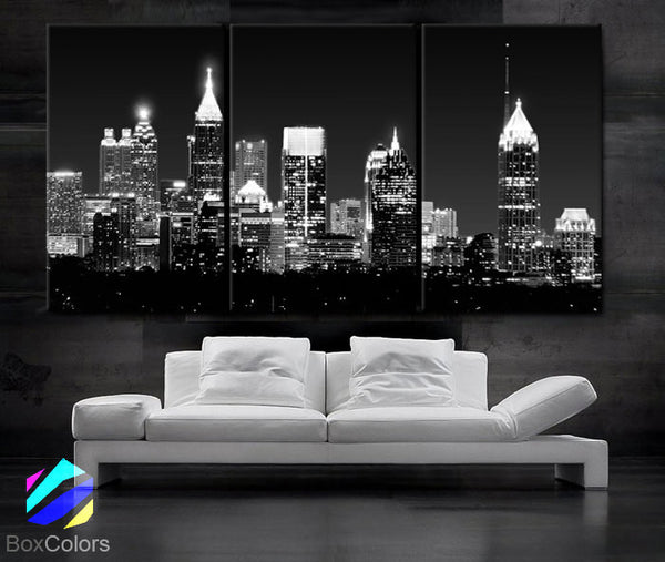"LARGE 30""x 60"" 3 Panels Art Canvas Print Beautiful Atlanta skyline light buildings Wall Home (Included framed 1.5"" depth) - BoxColors"