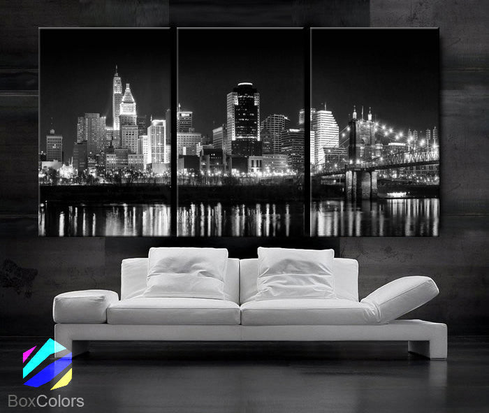 "LARGE 30""x 60"" 3 Panels Art Canvas Print Cincinnati Skyline night light Downtown Black & White Wall Home decor interior (framed 1.5"" depth) - BoxColors"