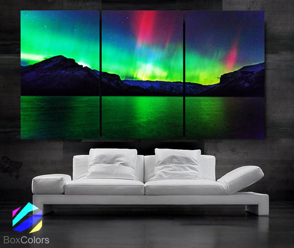 "LARGE 30""x 60"" 3 Panels Art Canvas Print Beautiful Aurora skyline Nature Wall Home (Included framed 1.5"" depth)"
