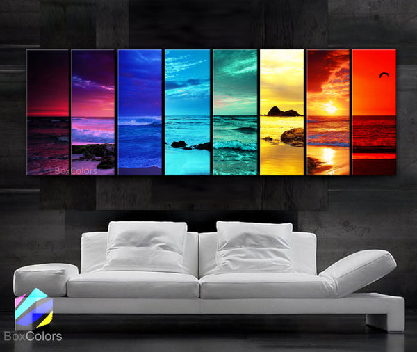 "X LARGE 8 Panels Art Canvas Print Sunset Beach MultiColor Red Pink Blue Green Yellow Orange Wall home interior (Included framed 1.5"" depth) - BoxColors"