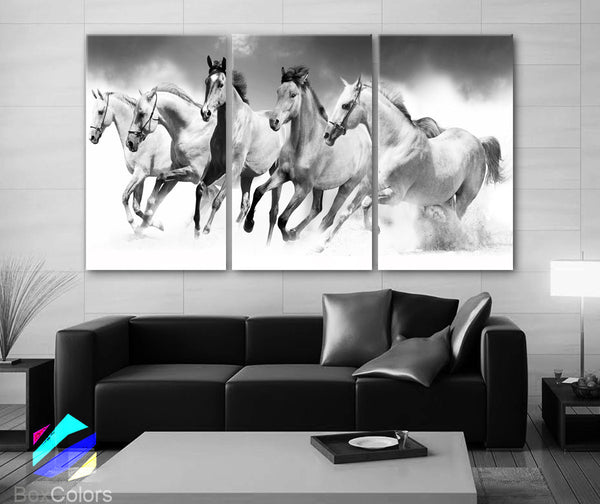 "LARGE 30""x 60"" 3 Panels Art Canvas Print beautiful Horses White animals Wall Home Office Decor interior (Included framed 1.5"" depth) - BoxColors"