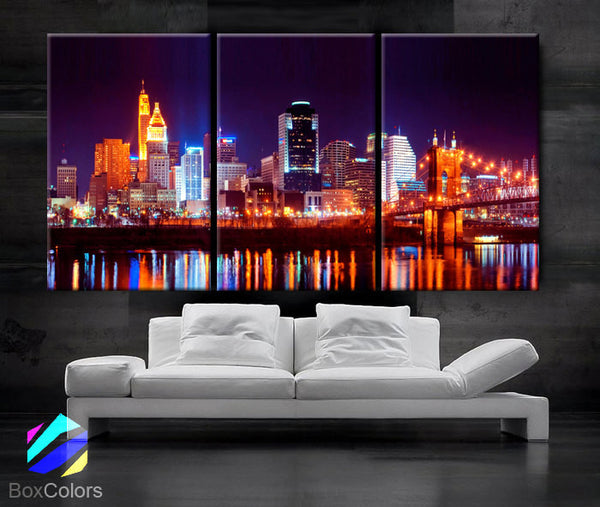 "LARGE 30""x 60"" 3 Panels Art Canvas Print Cincinnati Skyline night light Downtown bridge Wall Home decor interior (framed 1.5"" depth) - BoxColors"