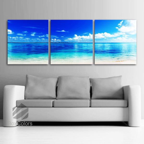 "LARGE 20""x 60"" 3 panels Art Canvas Print  Beach ocean Wall (Included framed 1.5"" depth) - BoxColors"
