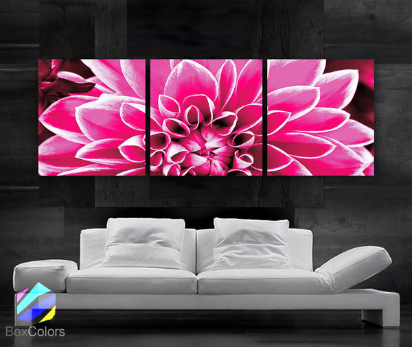 "LARGE 20""x 60"" 3 panels Art Canvas Print  Flower Summer Pink Purple Black/White Floral Wall (Included framed 1.5"" depth) - BoxColors"