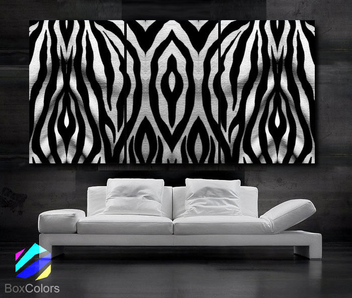 "LARGE 30""x 60"" 3 Panels Art Canvas Print Beautiful Texture Zebra White Black Wall (Included framed 1.5"" depth) - BoxColors"