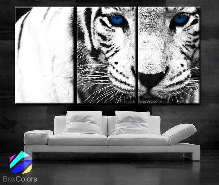 "LARGE 30""x 60"" 3 Panels Art Canvas Print beautiful Snow Leopard animal Feline Wall Home Decor interior (Included framed 1.5"" depth) - BoxColors"