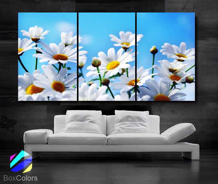 "LARGE 30""x 60"" 3 Panels Art Canvas Print Daisies Flowers Floral White Light Blue Wall (Included framed 1.5"" depth) - BoxColors"