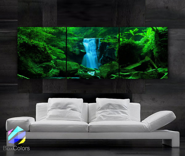 "LARGE 20""x 60"" 3 panels Art Canvas Print  Waterfall Cascade trees Wall (Included framed 1.5"" depth) - BoxColors"