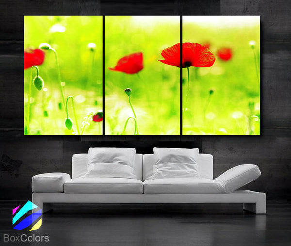 "LARGE 30""x 60"" 3 Panels Art Canvas Print beautiful Poppies Flowers Floral Red Green Yellow Wall Home (Included framed 1.5"" depth) - BoxColors"