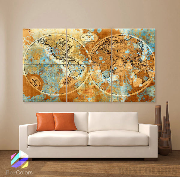 "LARGE 30""x 60"" 3 Panels Art Canvas Print Original world Map Watercolor Old Vintage Rustic Wall decor Home Office interior(framed 1.5"" depth)"