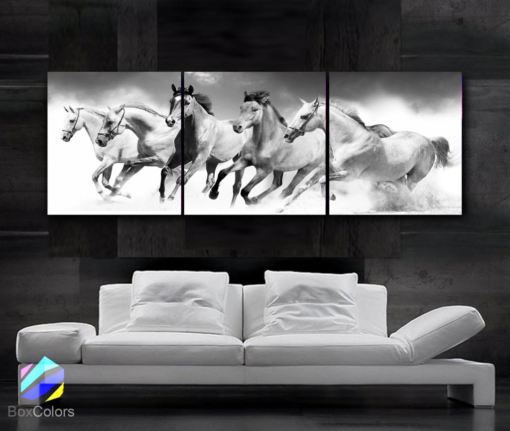 "LARGE 20""x 60"" 3 panels Art Canvas Print beautiful Horses Black & White Wall (Included framed 1.5"" depth) - BoxColors"