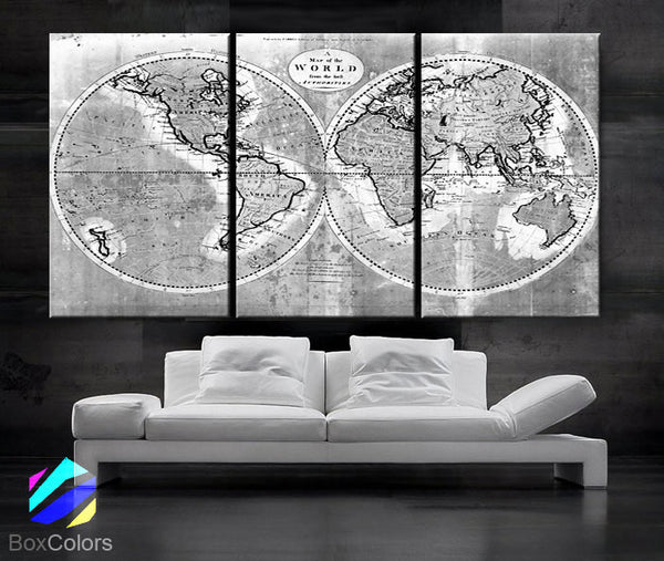 "LARGE 30""x 60"" 3 Panels Art Canvas Print world Map Old Vintage Rustic Black White Gray Wall decor Home interior (Included framed 1.5"" depth) - BoxColors"