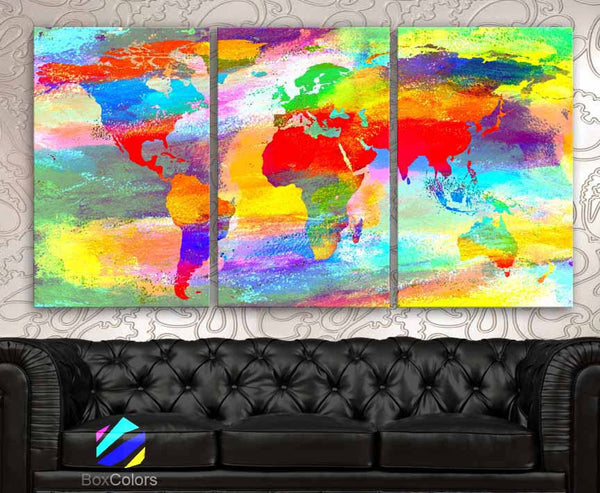 "LARGE 30""x 60"" 3 Panels Art Canvas Print Acrylic Texture Original World Map pastels colors Wall Home decor interior (framed 1.5"" depth) - BoxColors"