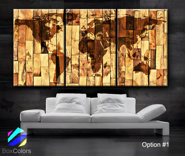 "LARGE 30""x 60"" 3 Panels Art Canvas Print Original World Map Wood panels texture Wall home office decor interior(Included framed 1.5"" depth) - BoxColors"