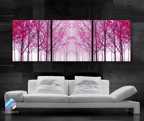 "LARGE 20""x 60"" 3 panels Art Canvas Print Trees Maple Pink Wall - BoxColors"