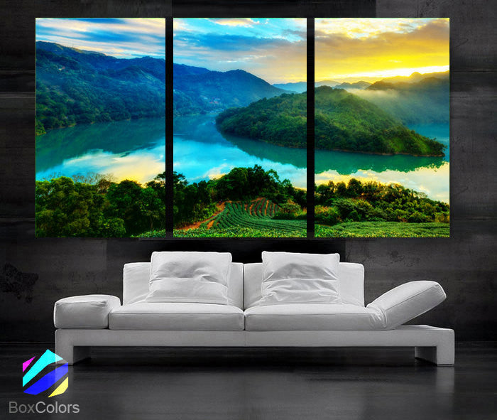"LARGE 30""x 60"" 3 Panels Art Canvas Print Beautiful Nature mountain landscape sunset Wall Home (Included framed 1.5"" depth) - BoxColors"