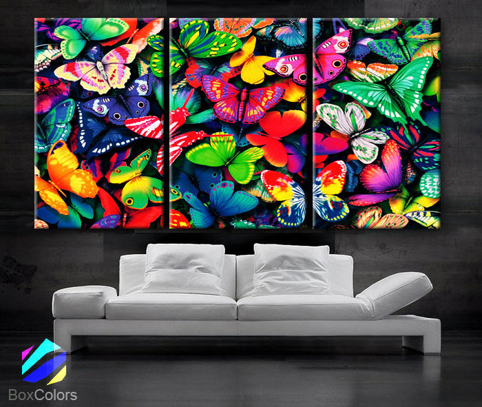 "LARGE 30""x 60"" 3 Panels Art Canvas Print beautiful Butterflies Butterfly colors Wall home Decor interior (Included framed 1.5"" depth) - BoxColors"