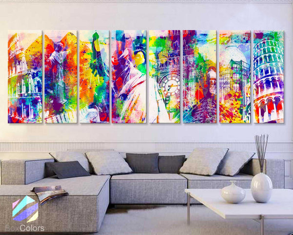"30""x 96"" 8 Panels Art Canvas Print Wonders World Watercolor wall decor Home - BoxColors"