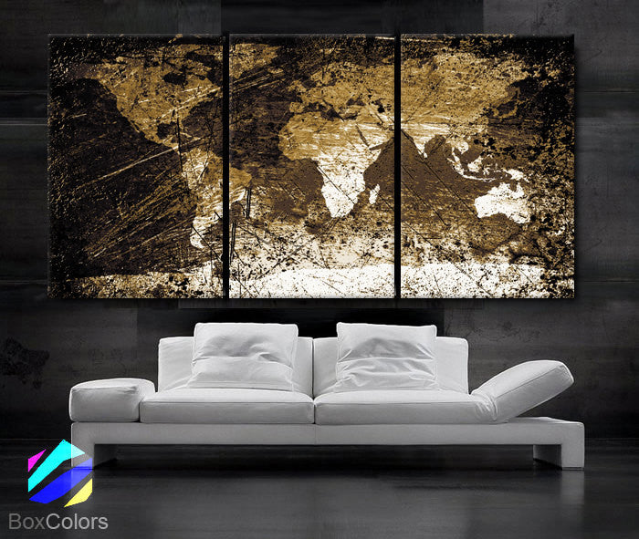"LARGE 30""x 60"" 3 Panels Art Canvas Print World Map Texture Abstract Select your Color Wall Decor Home Office (Included framed 1.5"" depth) - BoxColors"