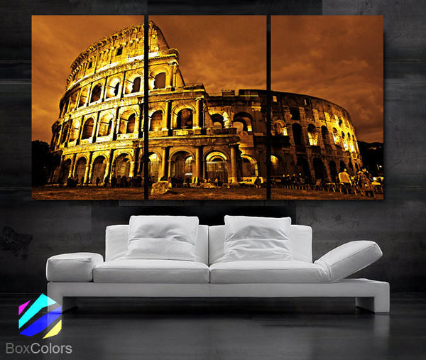 "LARGE 30""x 60"" 3 Panels Art Canvas Print Beautiful Roman Colosseum Coliseum italy Wall Home (Included framed 1.5"" depth) - BoxColors"